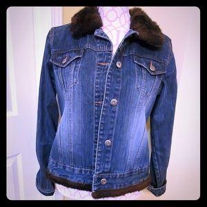 Vintage Route 66 faux fur Jean jacket sz M